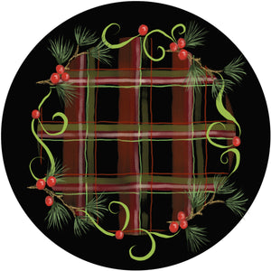 Holiday Splendor- Rustic Plaid on Black