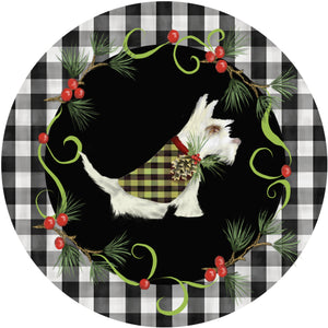 Holiday Splendor- Buffalo Plaid Rim, White Scotty Dog