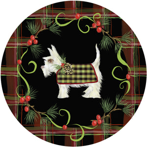 Holiday Splendor- Red Plaid on Black, White Scotty