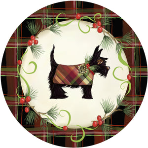 Holiday Splendor- Red Plaid on Cream, Black Scotty