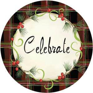 Holiday Splendor- Plaid Celebrate on White