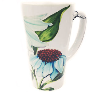 Latte Mug- Summer Blooms- Blue Coneflower