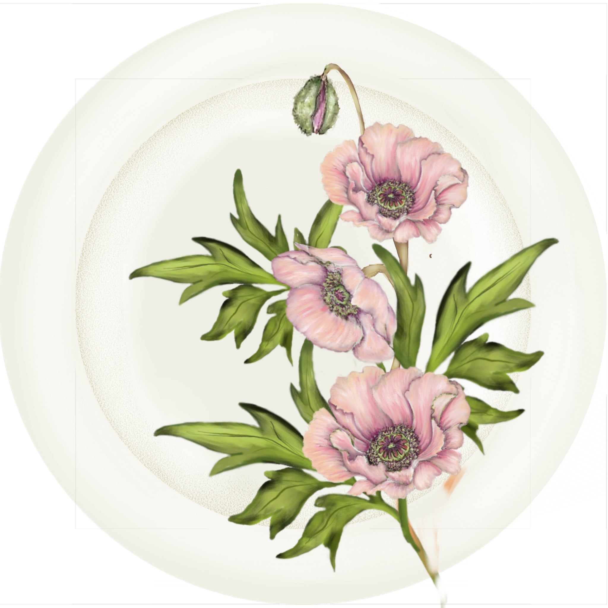 "Summer Blooms - Pink Poppy - 10"" Dinner Plate"