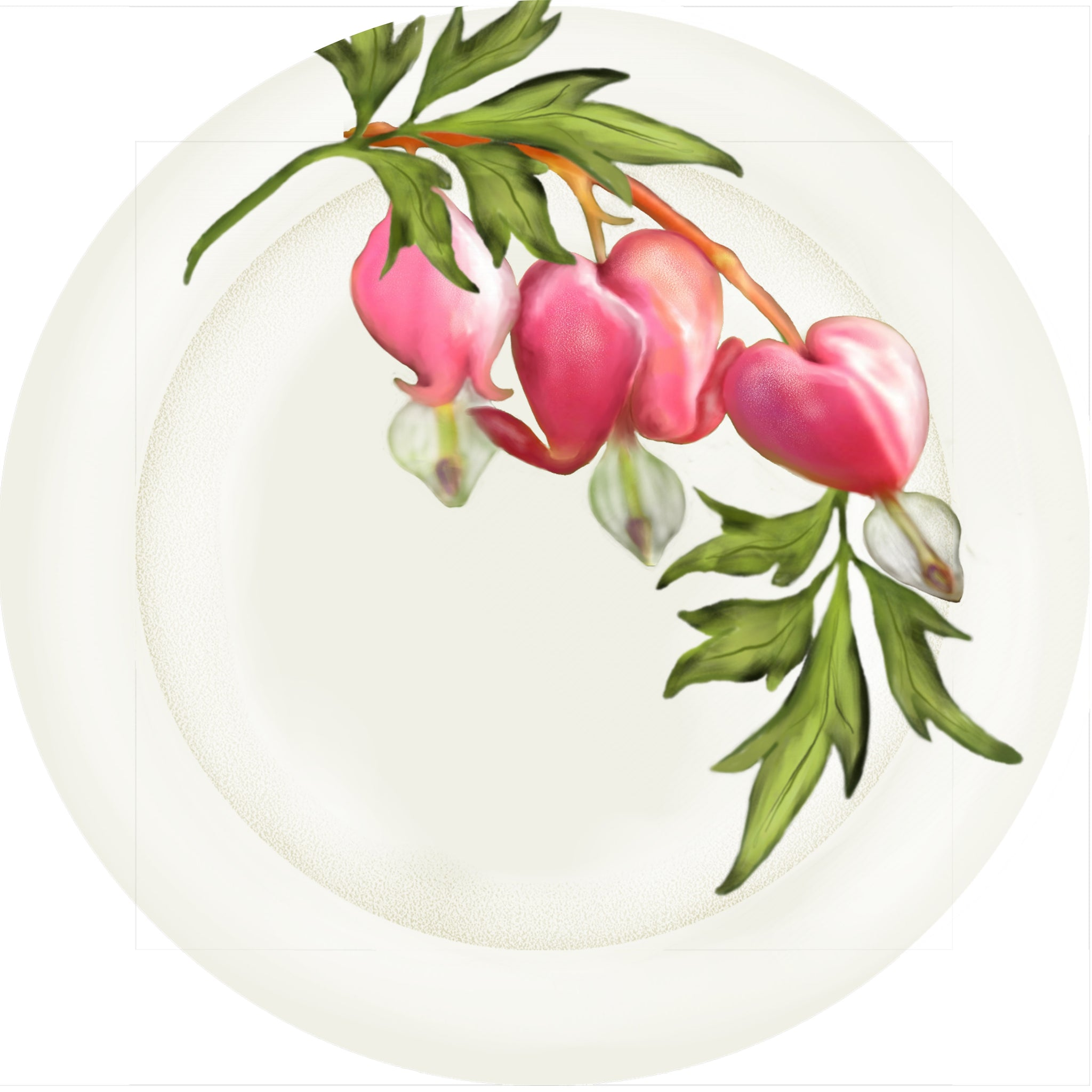 "Summer Blooms - Bleeding Heart 10"" Dinner Plate"