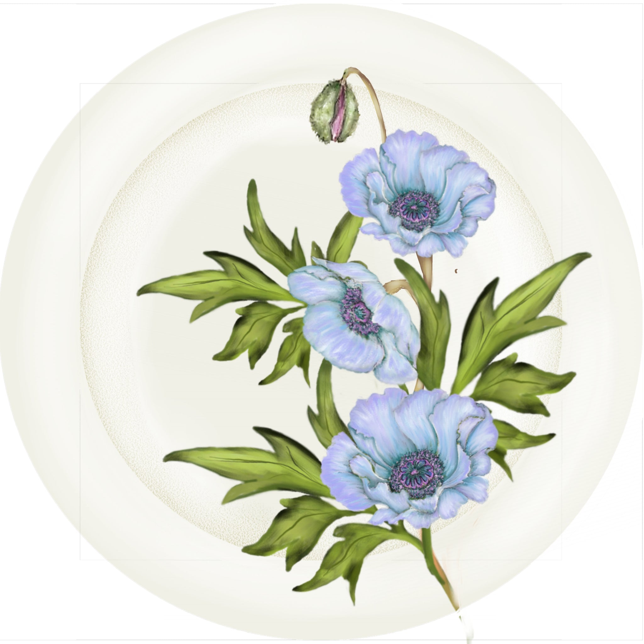 "Summer Blooms - Blue Poppy - 10"" Dinner Plate"