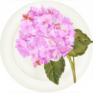 "Summer Blooms - Hydrangea Pink - 10"" Dinner Plate"