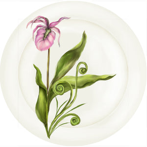 "Summer Blooms - Lady Slipper - 10"" Dinner Plate"