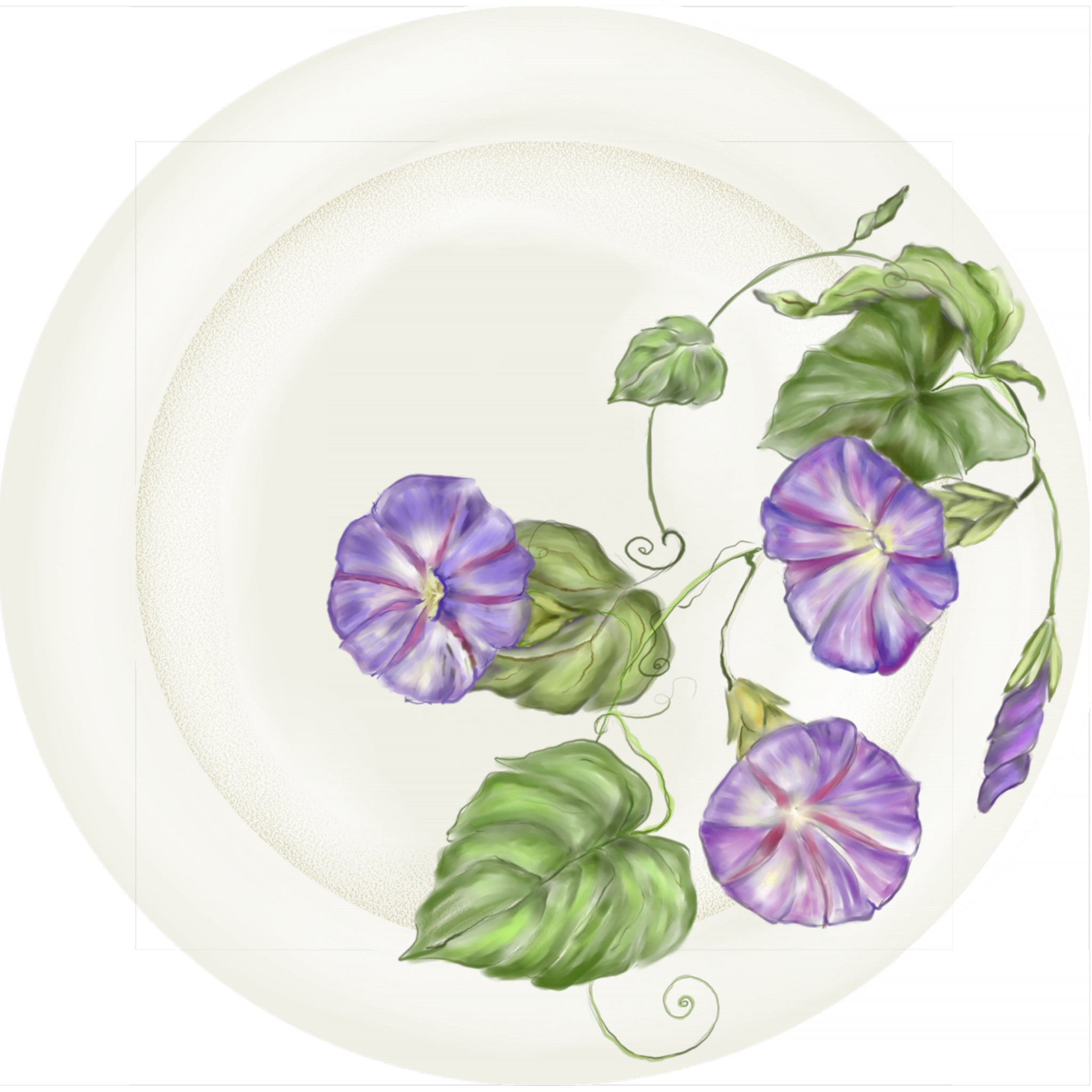 "Summer Blooms - Morning Glory -10"" Dinner Plate"