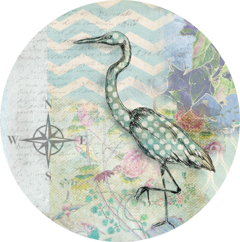 "By The Sea Egret - 10"" Dinner Plate"