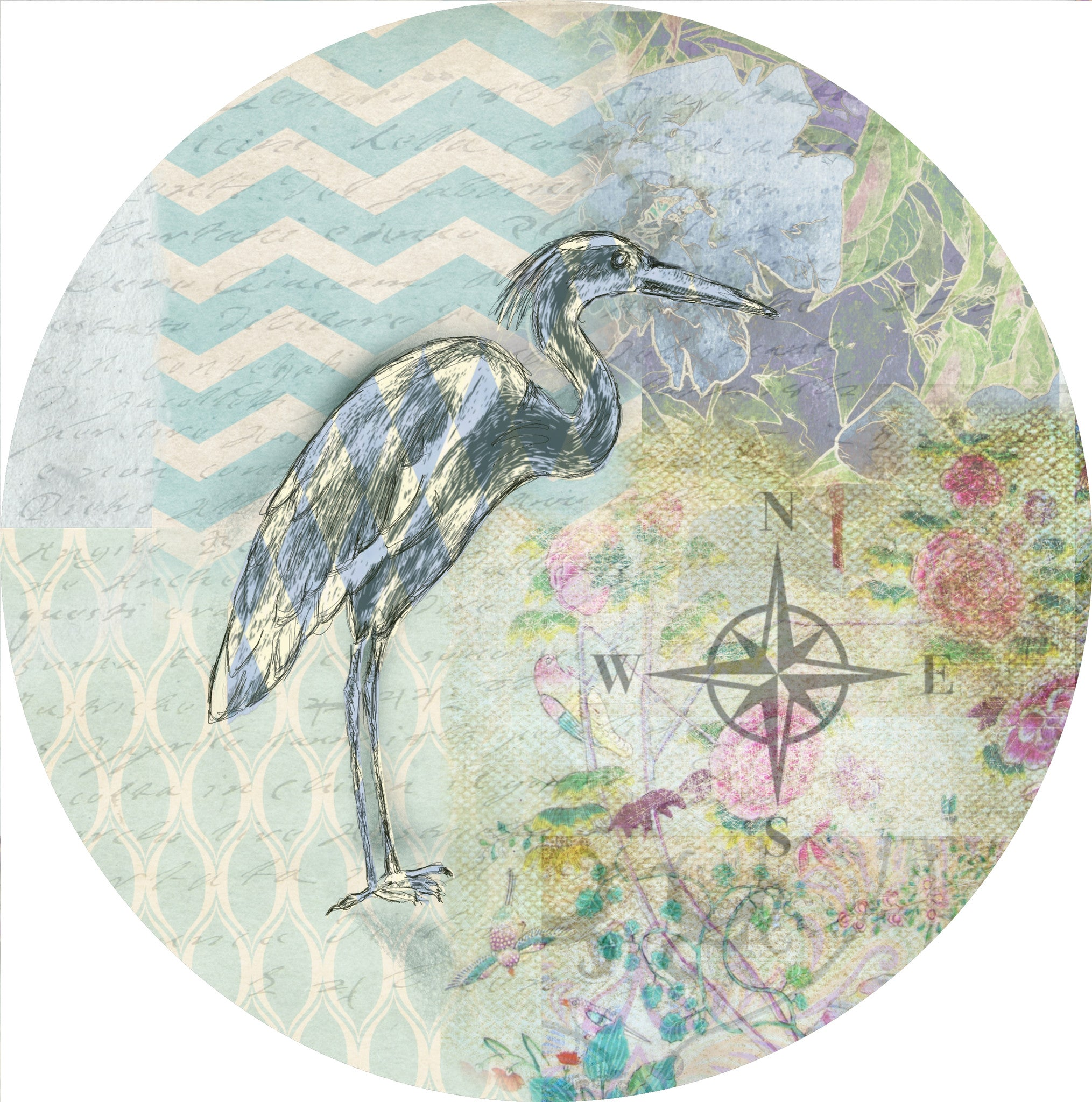 "By The Sea Heron - 10"" Dinner Plate"