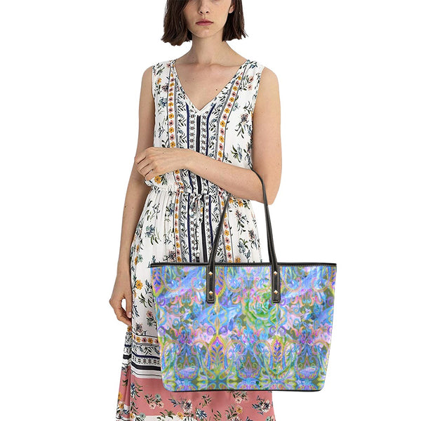 Demure Bleu Bag with Zipper Chic Leather Tote Bag (Model 1709)