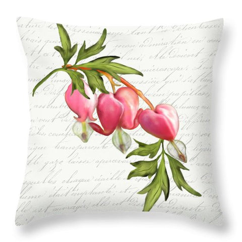 Summer Blooms - Bleeding Heart - Throw Pillow