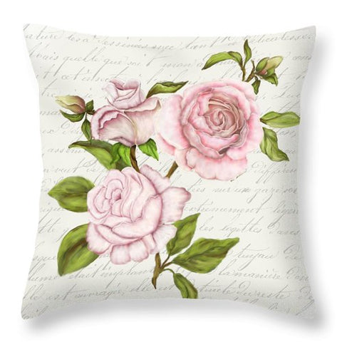 Summer Blooms - Garden Roses - Throw Pillow