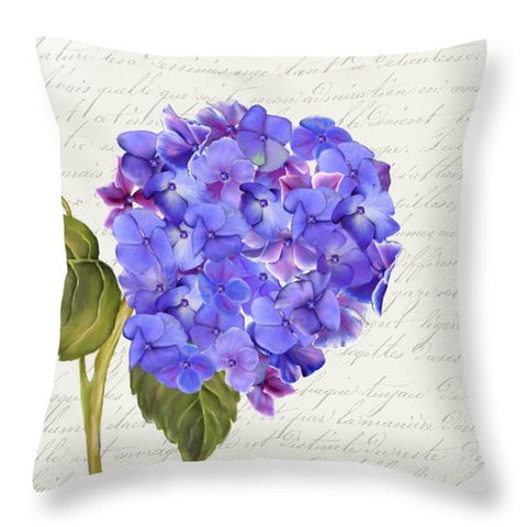 Summer Blooms - Hydrangea Blue - Throw Pillow