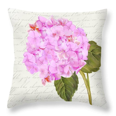 Summer Blooms - Hydrangea Pink - Throw Pillow