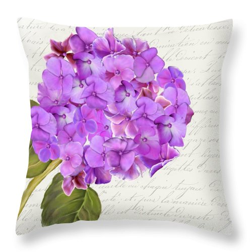 Summer Blooms - Hydrangea Purple - Designer  Pillow