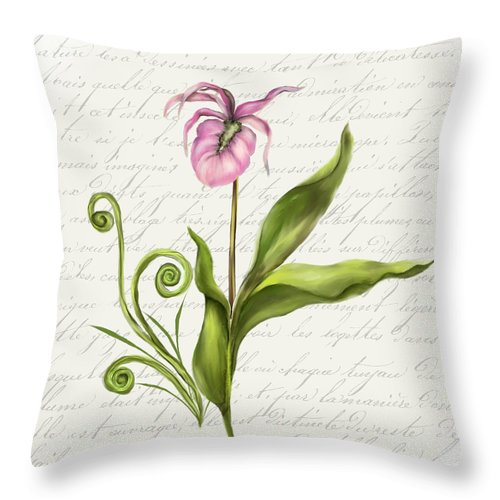 Summer Blooms - Lady Slipper - Throw Pillow