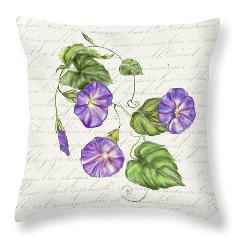 Summer Blooms - Morning Glory - Throw Pillow