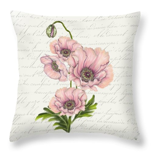 Summer Blooms - Pink Poppies - Throw Pillow