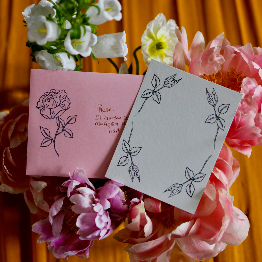Rose Illustrated Notecard & Envelope Set