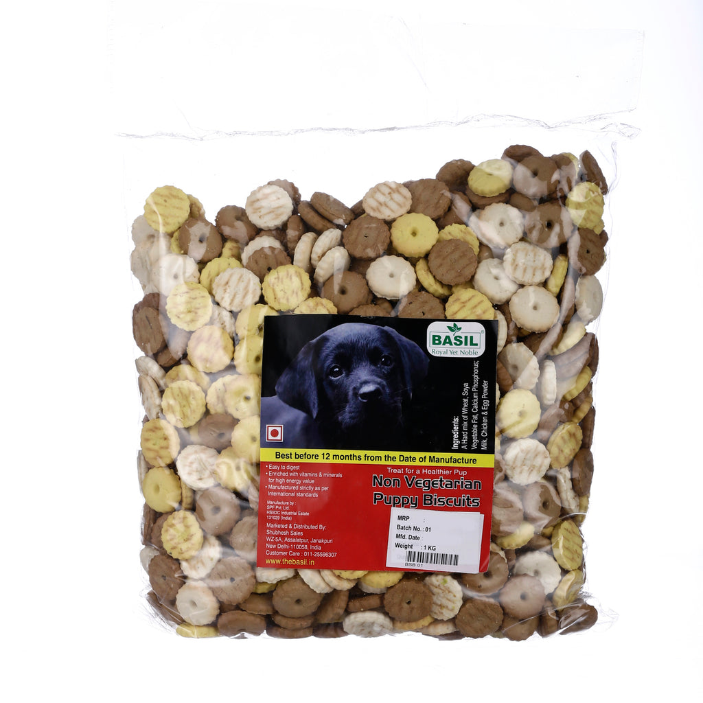 Basil Non Vegetarian Round Puppy Biscuit (2x1000 g) - Pack of 2