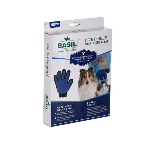 Basil Five Finger Deshedding Grooming Glove for Dogs and Cats