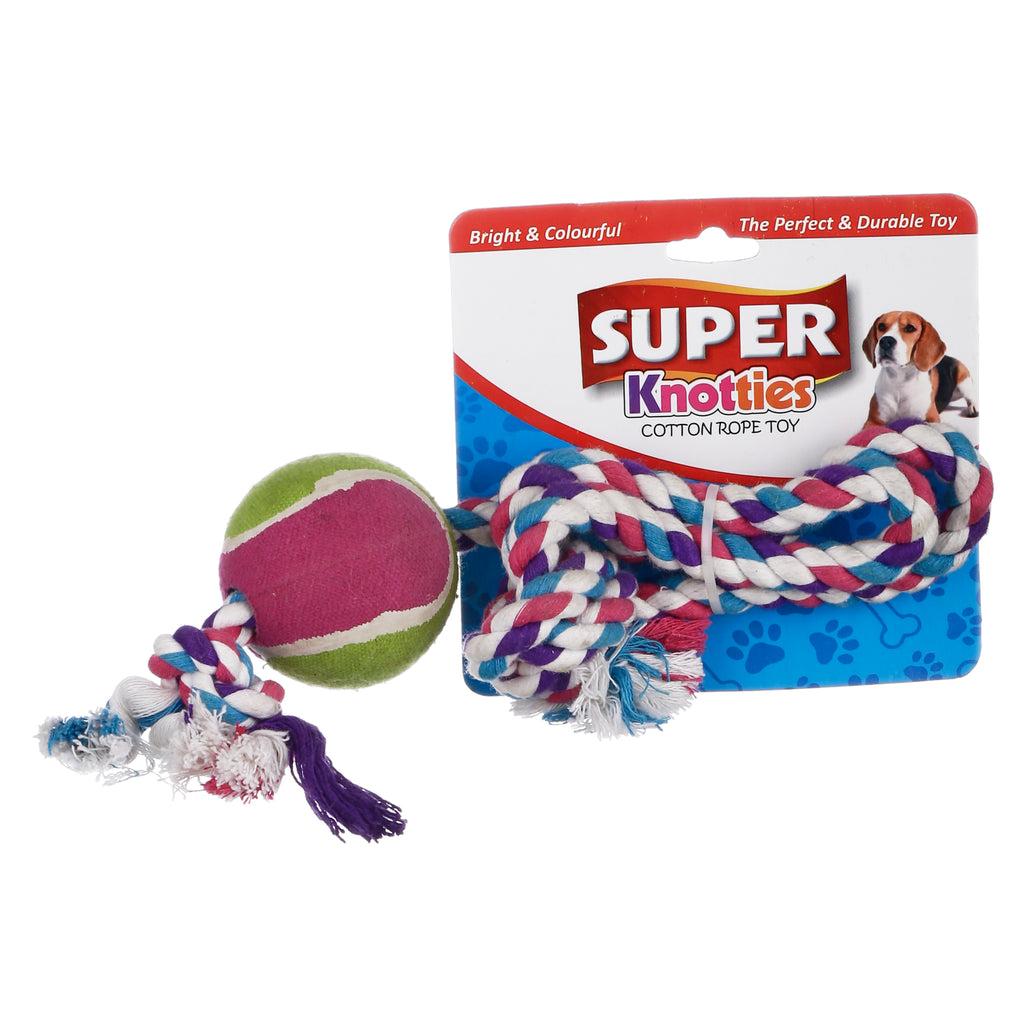 Lal Pet Dog Cotton Pull Rope Toy With Tennis Ball