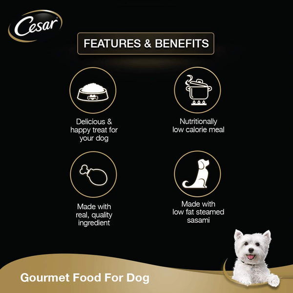 Cesar Adult Wet Dog Food (Gourmet Meal), Sasami & Vegetables (16x70 g) - Pack of 16