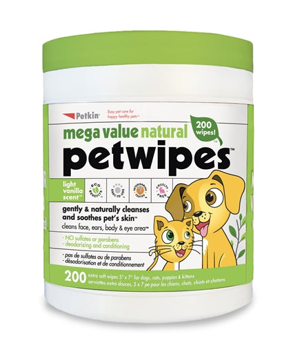 Petkin Mega Value Natural Petwipes 200 Count