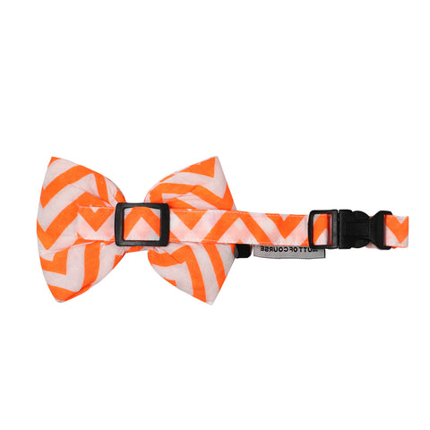 Mutt of Course Chevron Orange Bow Ties