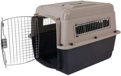 Petmate Plastic Pets Kennel with Chrome Door 32 Inch 13-23 Kg Taupe & Black