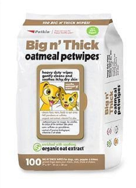 Petkin Big N' Thick Oatmeal Petwipes In 100 Count