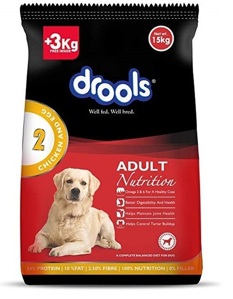 Drools Chicken and Egg Adult Dog Food, 15kg (3kg Extra Free Inside Stock)