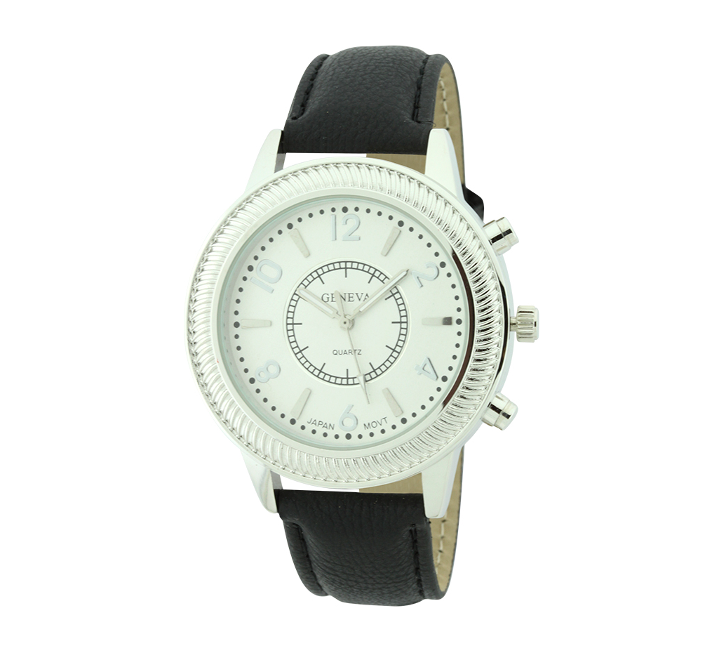 Round Face With Pattern Around Dial Strap Watch(white face)