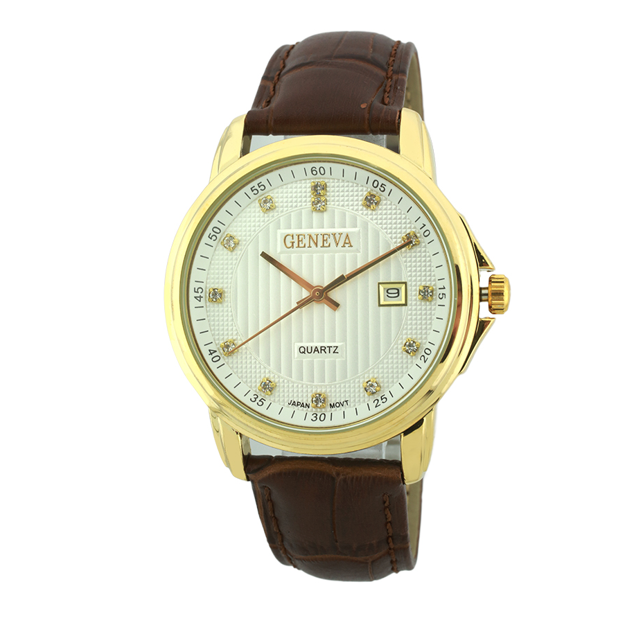 Round Face Genuine Leather Watch, 20M Water Resistant(Gold)