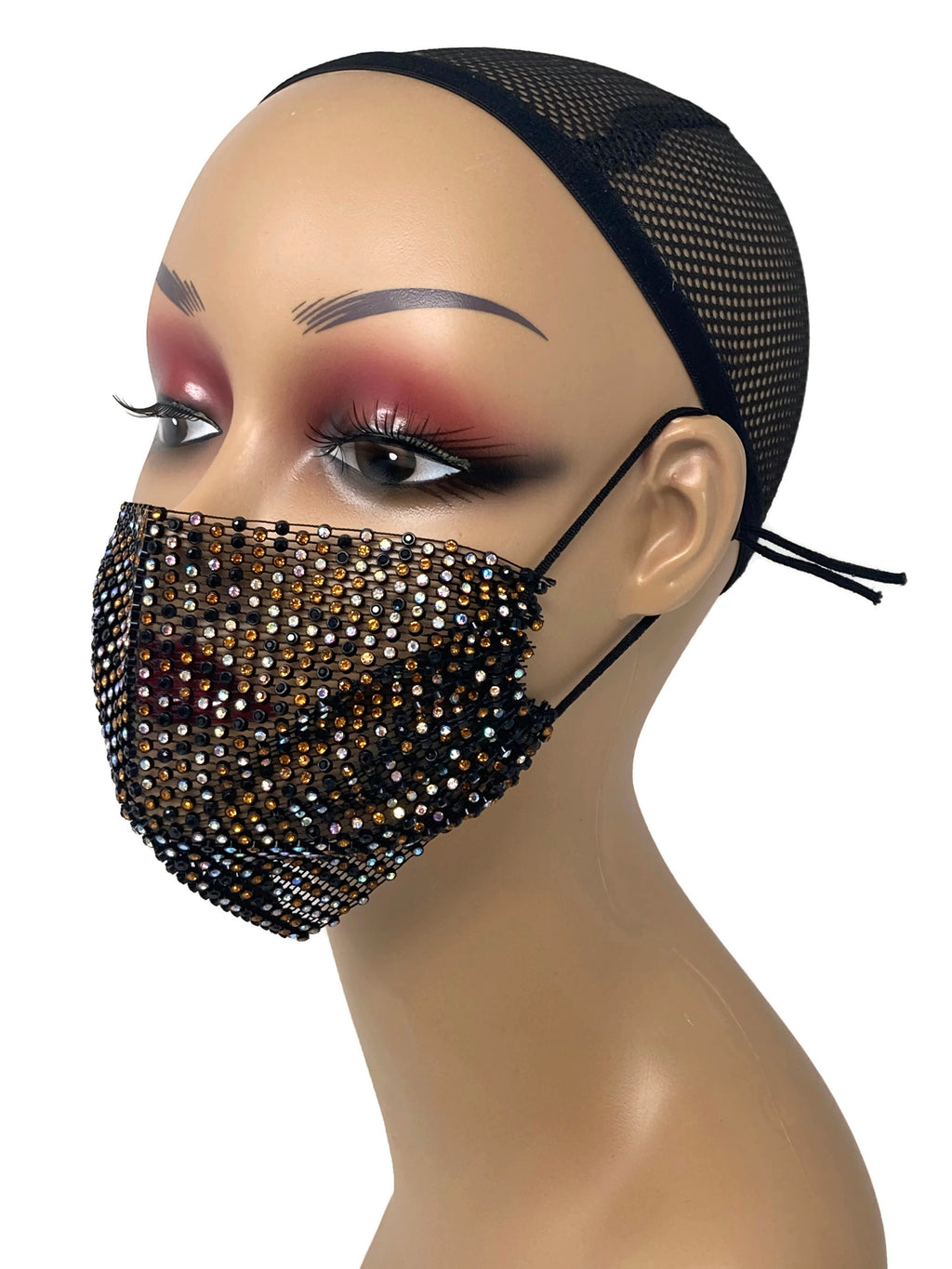 Grid Rhinestone Crystal Mask(AnimalPrint)