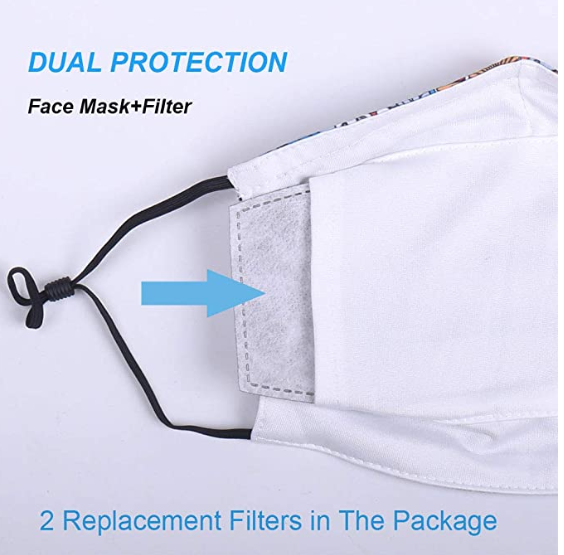 Reusable Washable Cotton Face Mask with Two Fliters