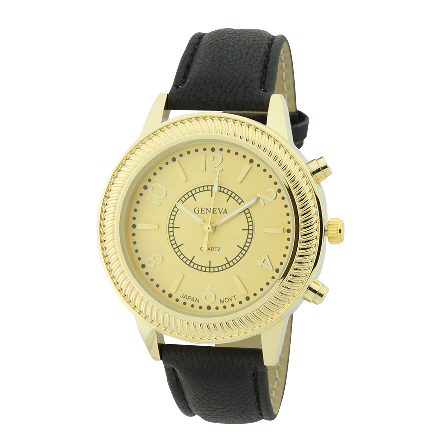 Round Face With Pattern Around Dial Strap Watch.