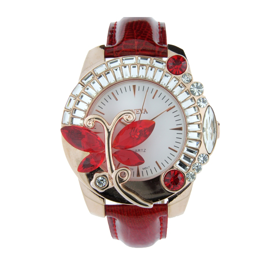 FANCY LEATHER STRAP LADY WATCH WITH BUTTERFLY CRYSTAL ON THE DIAL