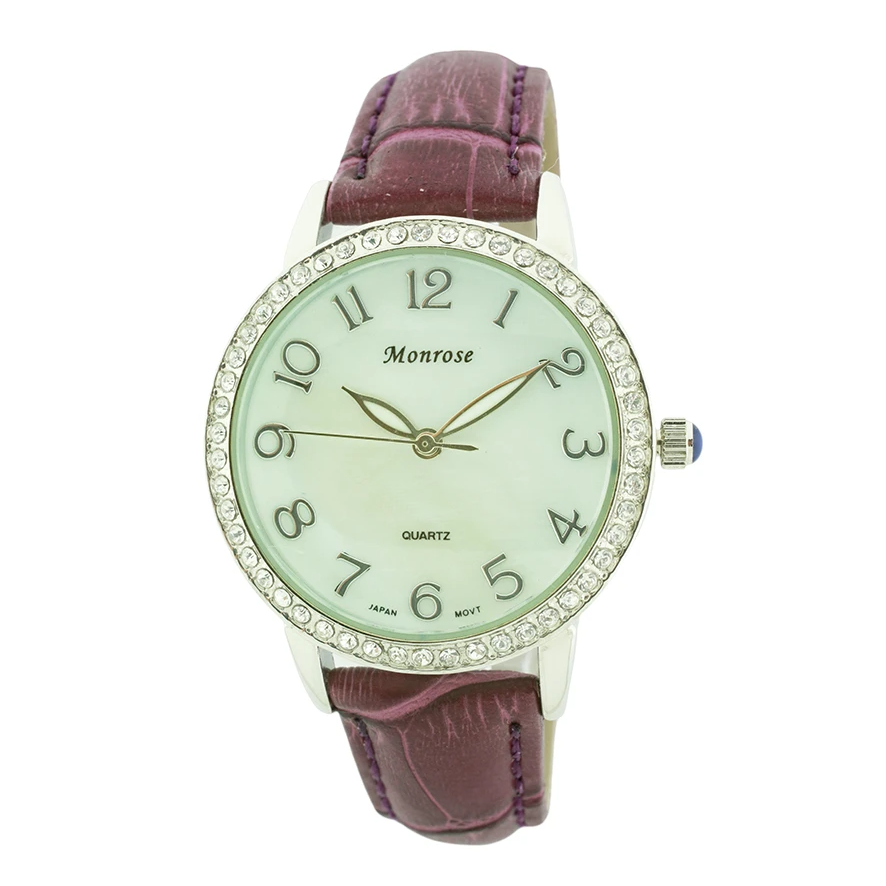 Round Face Arabic Leather Strap Watch, Mother of Pearl and Stones Dial