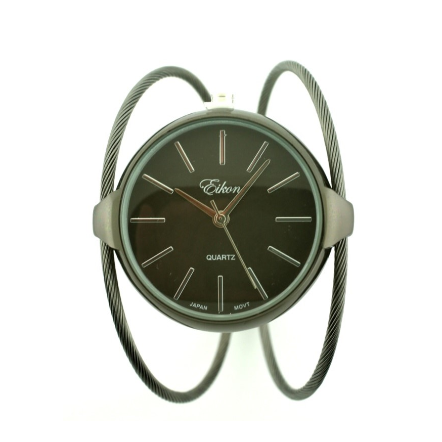 Classic Round Face Cable Cuff Watch