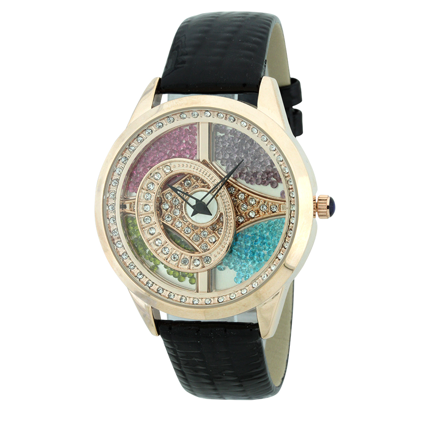 4 COLOR FALLING STONES WITH SPINNING OVAL AND GENUINE LEATHER WATCH.