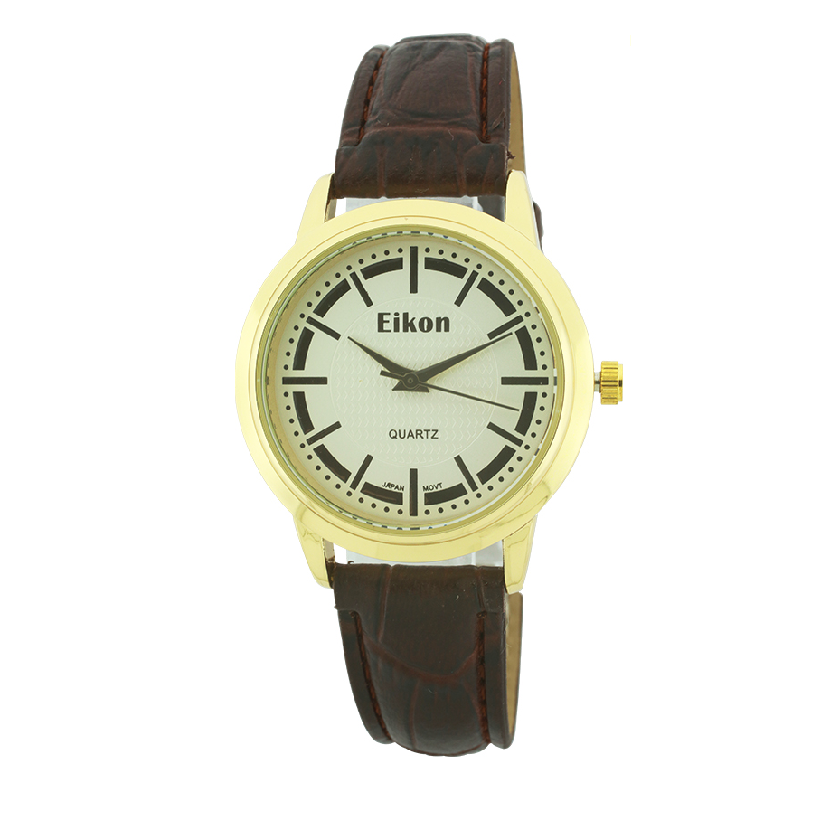 Medium Round Face Strap Watch(Gold face)