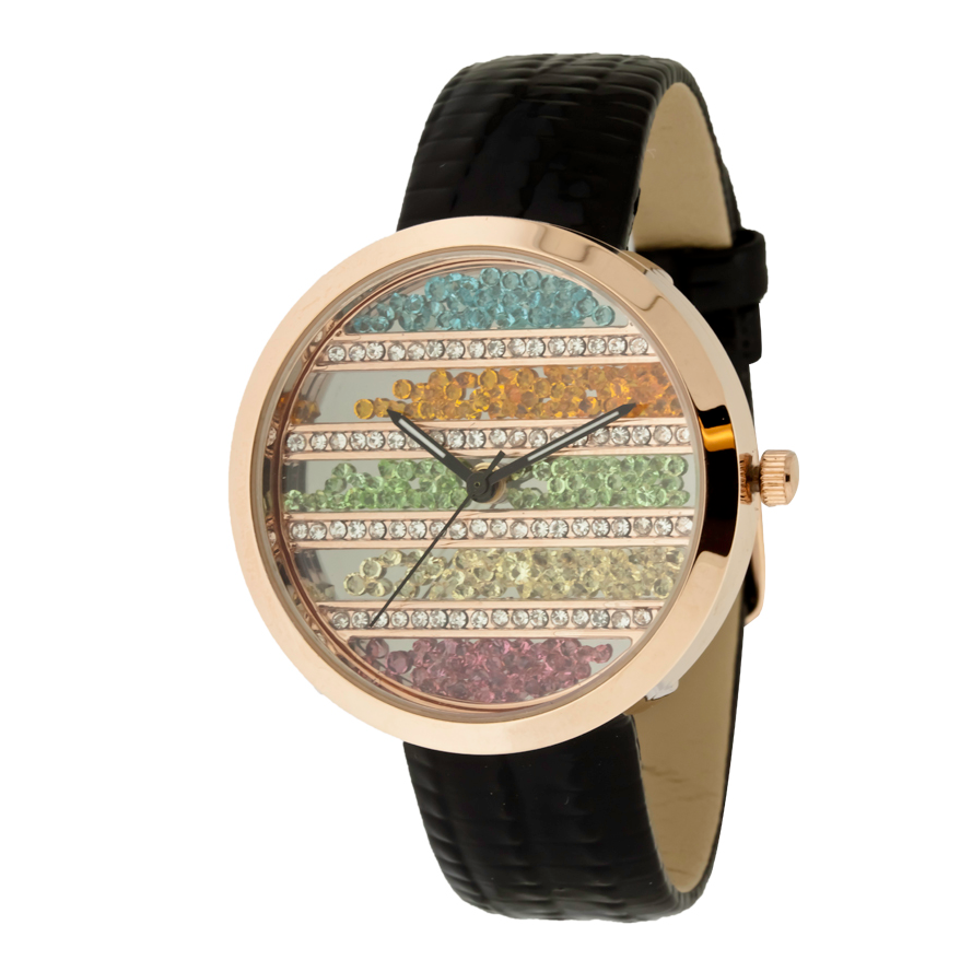 ROUND FACE AND MULTIPLE COLOR FALLING STONES IN DIAL, GENUINE LEATHER BAND LADY WATCH.