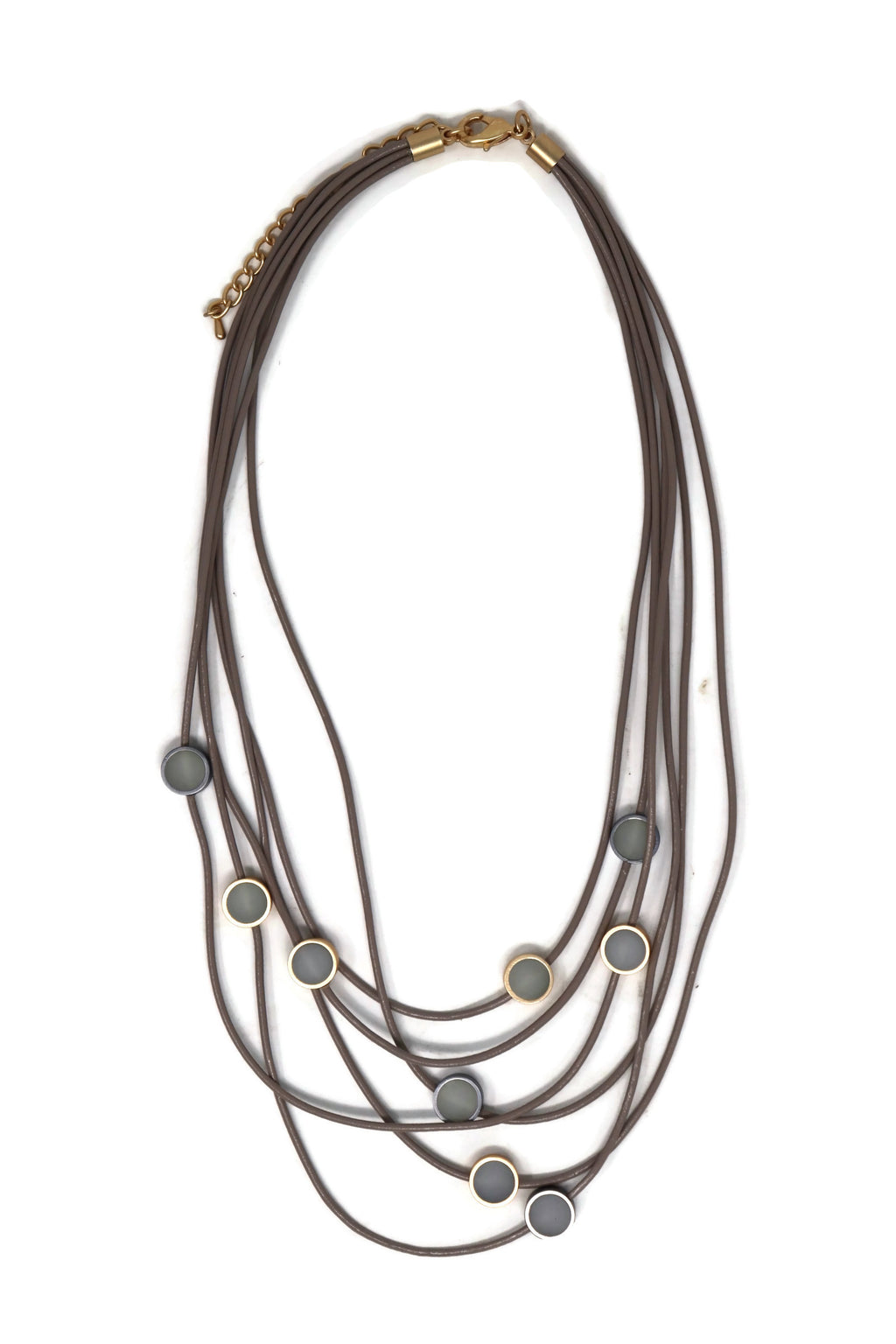 Genuine leather Multi layers Short Chain Necklace