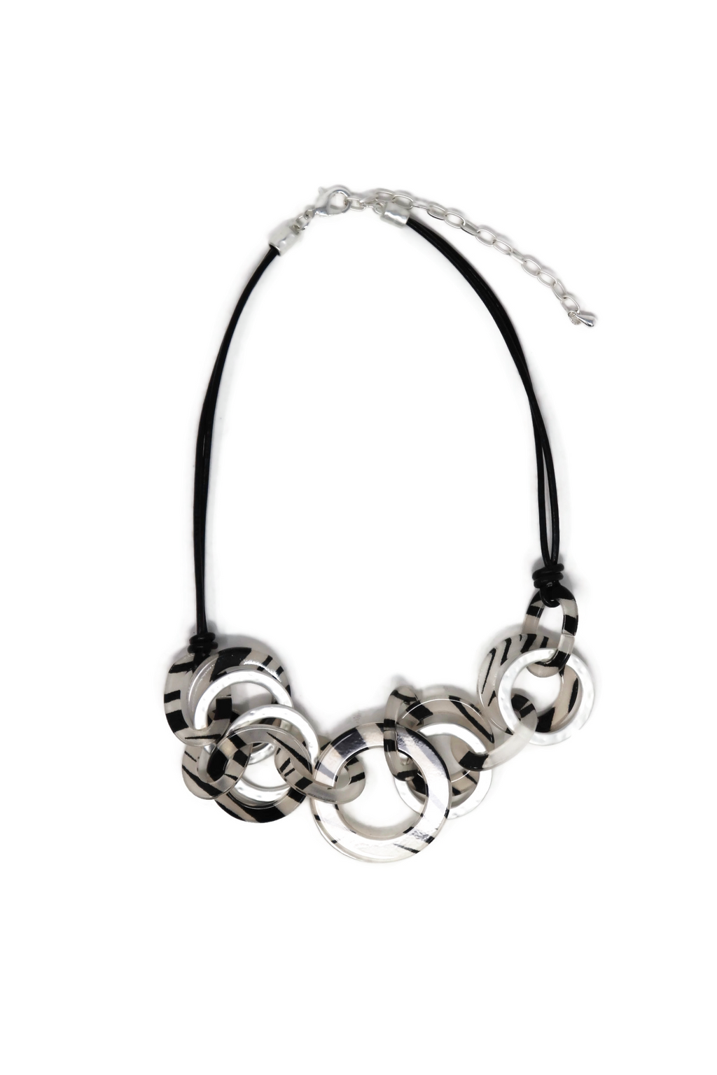 Genuine Leather necklaces circle with print zebra fashion style