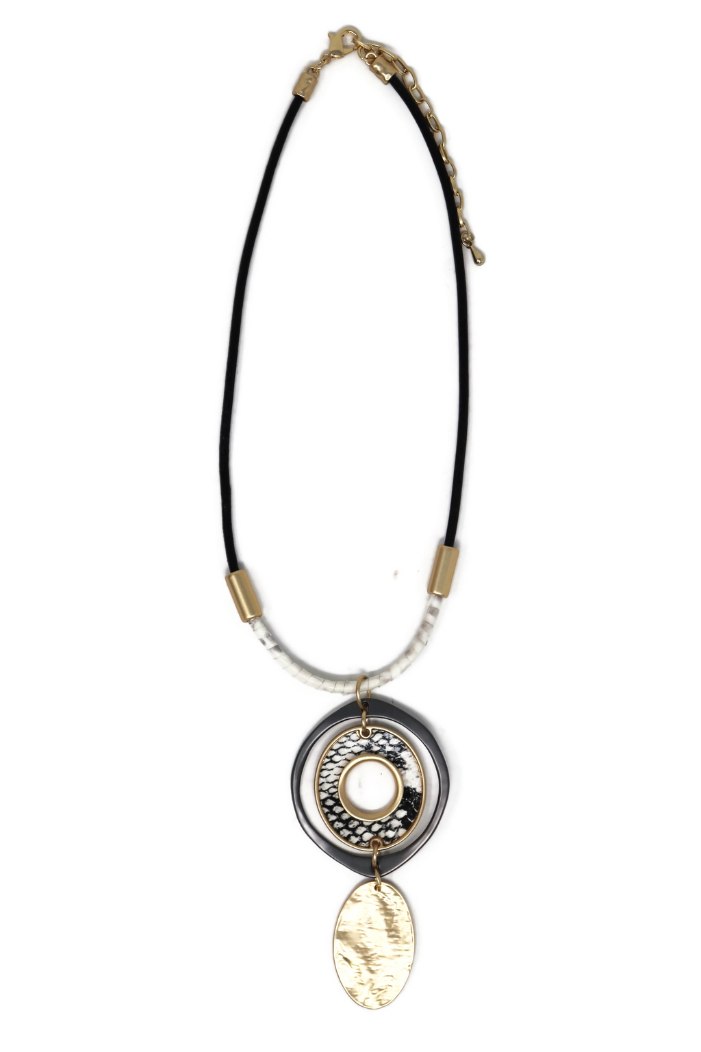 Genuine Leather Short Chain Necklace with Circle Pendant