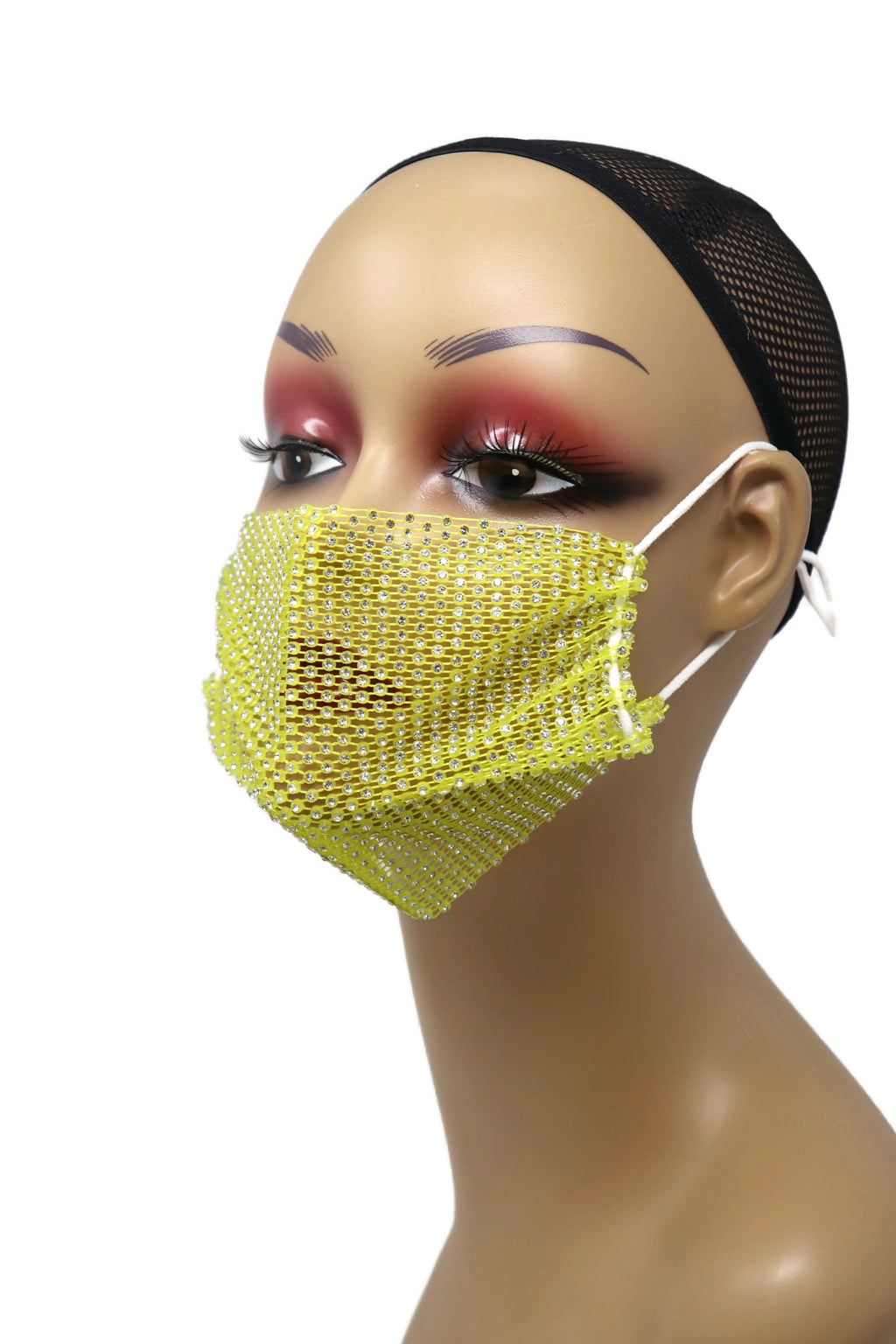 Grid Rhinestone Crystal Mask(Yellow)
