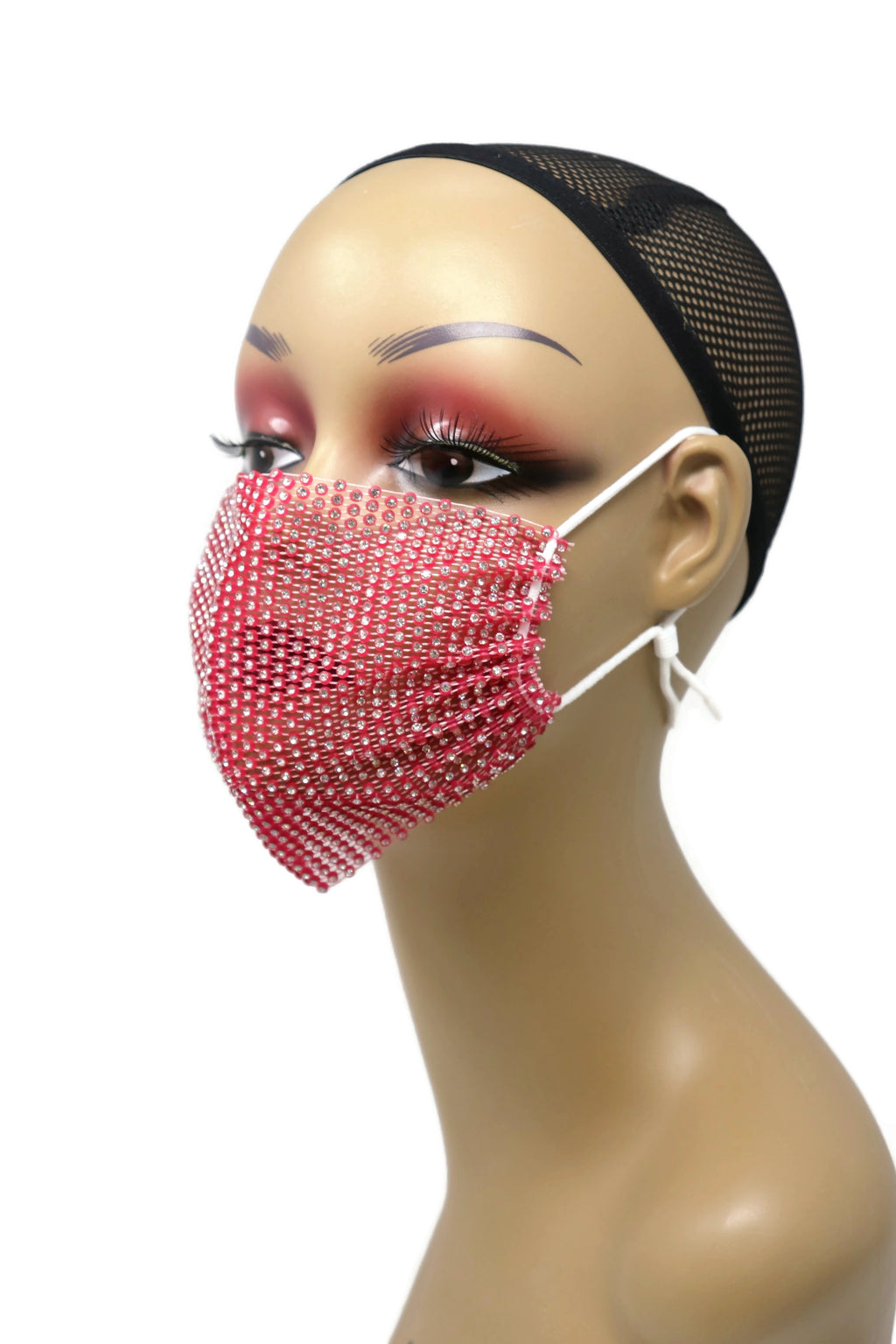 Grid Rhinestone Crystal Mask(Dark pink)
