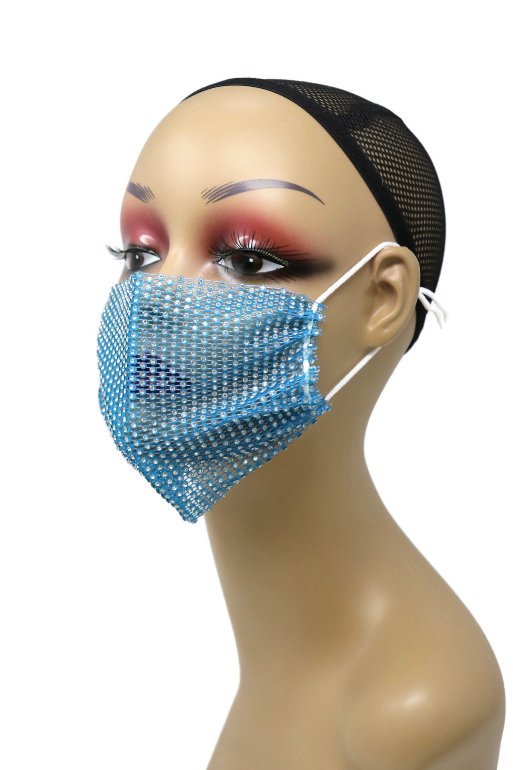 Grid Rhinestone Crystal Mask(Blue)